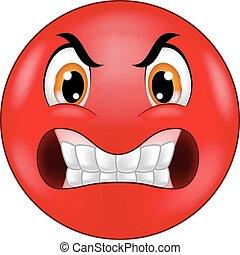 emoticon, böser , smiley, karikatur