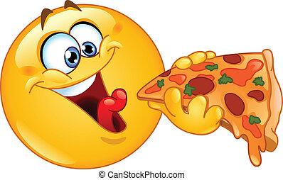 emoticon, essen pizza