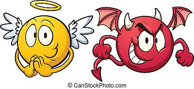 emoticons., engelchen, teufel