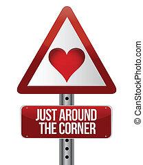 Empfängtes Straßenschild auf Liebe