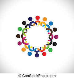 Empfehle Vektoren, farbenfrohe Gesellschaft von Menschen Icons (symbols). Die Illustration zeigt Konzepte wie Arbeitnehmergewerkschaften, Arbeitnehmerverschiedenheit, Gemeinschaftsfreundlichkeit & Teilung, Kinderspiel usw
