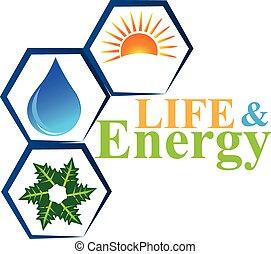 Energieelemente des Lebenslogos Vektors.