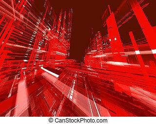 Entfernen Sie städtischen roten leuchtenden Backgro