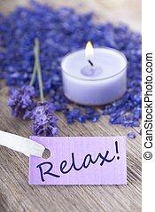 Entspann dich auf dem lila Label