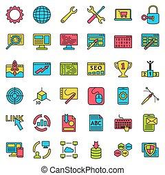 entwicklung, web, satz, collection., icons., internet abbild