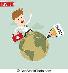 eps10, bereitschaftsdienst, doktor, -, abbildung, suitecase, vektor, tragen