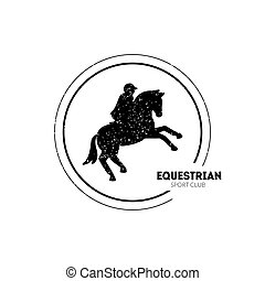 Equestrian sportclub Logo Vorlage mit Springpferd und Jockey Vektor Illustration.