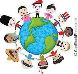 erde, multikulturell, kinder
