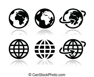 erdeglobus, vektor, satz, heiligenbilder