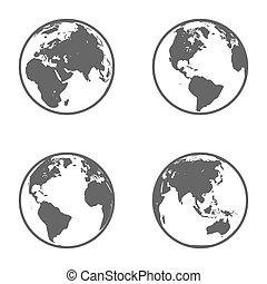 Erdkugel-Emblem. Icon Set. Vector