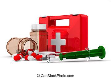 Erste-Hilfe-Kasten auf weißem Hintergrund. 3D-Bild isoliert