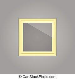 Erstellte goldene Bilderrahmen mit Spiegelreflexion.