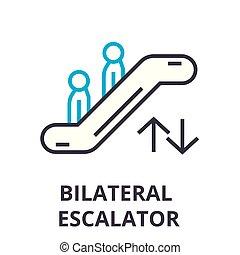 Escalator dünne Linie Icon, Zeichen, Symbol, Illustation, lineares Konzept, Vektor.