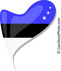 Estnische Flaggen-Knopf-Herzform