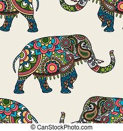 Ethnic indianischer Elefant gefärbt nahtlos Hintergrund