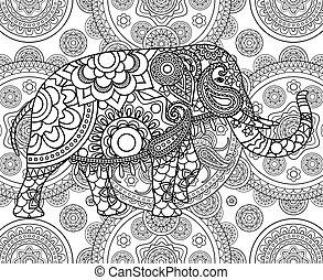 Ethnisch-indischer Elefant über ornate Hintergründe