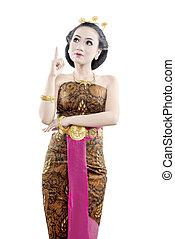 etwas, java, asiatisch, traditionelle , tanz, ausstellung, frau, kostüm