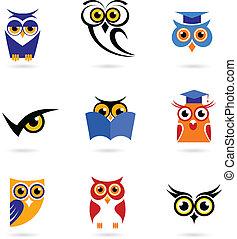 Eulen-Ikonen und Logos