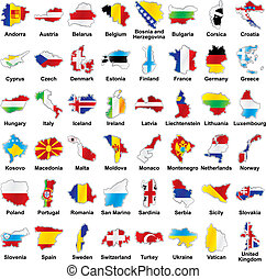 Europäische Flaggen in Kartenform mit Details