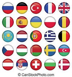 Europäische Icons rund um die Flaggen