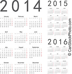 Europäischer 2014, 2015, 2016 Jahre Vektorkalender