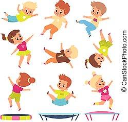 exercises., verschieden, poses., kinder, kinder, fliegendes, kindisch, knaben, leute, geräteturnen, play., springende , karikatur, junger, springen, aktive, trampolines., fitness., spiele, vektor, mädels