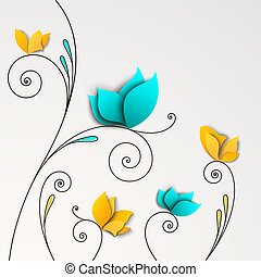 Fünf abstrakte Papierblumen