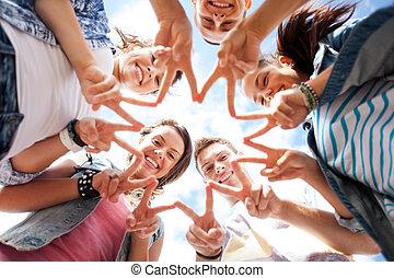 fünf, ausstellung, gruppe, teenager, finger