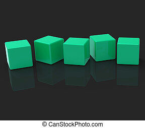Fünf leere Blöcke zeigen Kopierraum für 5 Buchstaben.