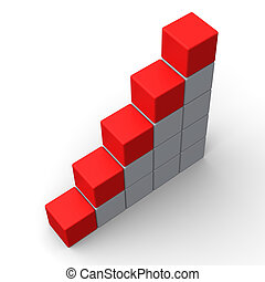 Fünf leere Schritte zeigen Platz für 5 Buchstaben.