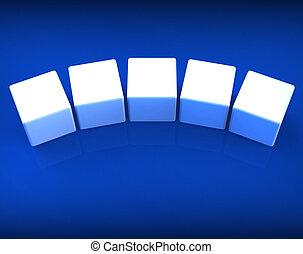 Fünf leere Würfel zeigen Kopierraum für 5 Buchstaben.