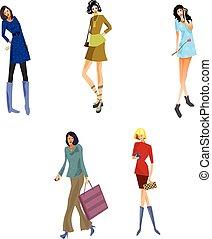 fünf, modern, mädels