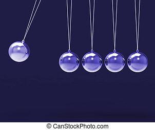 Fünf silberne Newtonen wiegen Leerkugeln, Kopierraum für 5 Buchstaben.