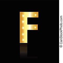 F Buchstabe mit leuchtenden Lichtzeichen.