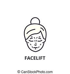 Facelift dünne Linie Icon, Zeichen, Symbol, Illustation, lineares Konzept, Vektor.