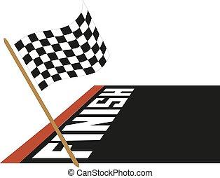 fahne, vektor, rennsport, abbildung, ikone