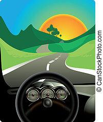 Fahren auf einem langen Weg