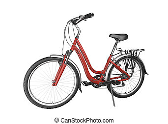 fahrrad, rotes , isoalted