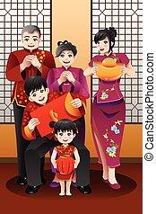 Familie feiert chinesisches neues Jahr.
