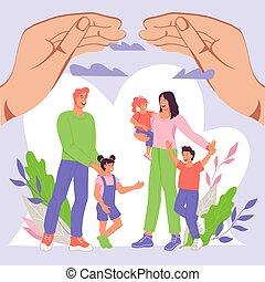 familie, kinder, illustration., handflächen, unter, riesig, vektor, wohnung, schützend, hand