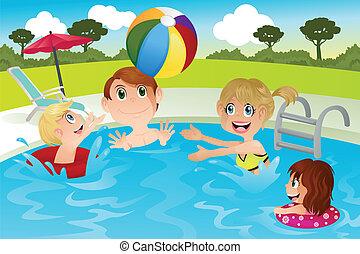 familie, teich, schwimmender