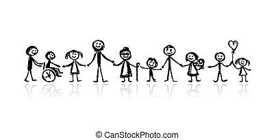 Familie zusammen, Skizze für dein Design