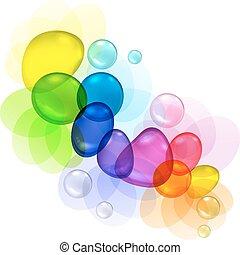 Farbe abstrakt mit transparenten Blasen und Tropfen.