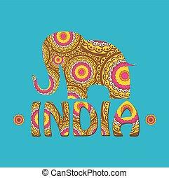farbe, indische , pattern., vektor, elefant