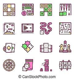 farbe, linie, tisch, vektor, ikone, spiele, satz