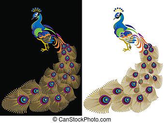 farbe, peacoc
