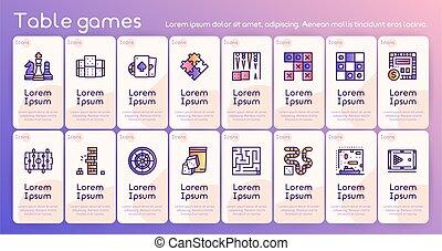 farbe, spiele, vektor, satz, ikone, linie, tisch
