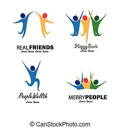 Farbenfrohe glückliche Menschen springen in Joy Vektor gesetzt