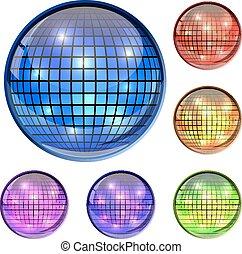 Farbglas Diskoball 3D Vektor Icons isoliert auf weißem Hintergrund.