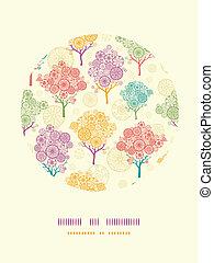 Farbige abstrakte Bäume kreisen die Dekoration Muster Hintergrund.